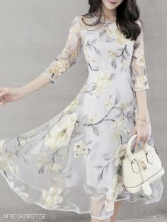 Floral Printed Hollow Out Chiffon Round Neck Skater Dress - Look Shop Cheap Skater Dresses, Grey Party Dresses, Floral Skater Dress, Chiffon Maxi Dress, Shift Dresses, Chiffon Saree, Chiffon Shirt, Women's Dresses, Evening Dresses