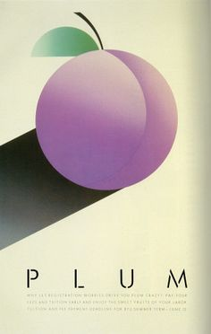 Artist: McRay Magleby. Plum Crazy. Fruit Series Registration Posters. Brigham Young University Graphics, Provo, Utah, 1986.