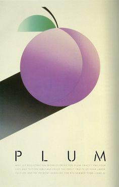 Artist: McRay Magleby. Plum Crazy. Fruit Series Registration Posters. Brigham Young University Graphics, Provo, Utah, 1986.