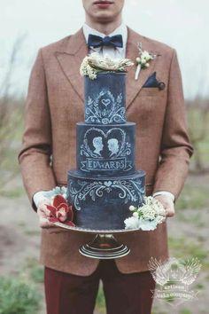 Blackboard wedding cake