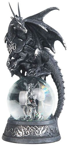 "Allies IN Black Dragon ON Snow Globe Dragon Statue Figurine H7 5"" | eBay"