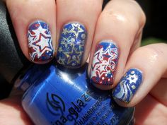 4th of July nail art by Donner