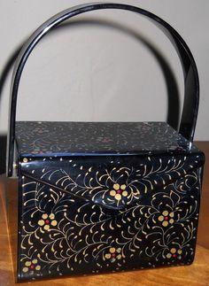 Vintage - Sac à Main - Lucite - Noir et Petites Fleurs peintes à la Main - Wilardy - Années 50