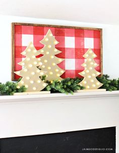 a23bf9dcfc436b A DIY tutorial to make metallic light up wood trees. Cut tree shapes from  wood