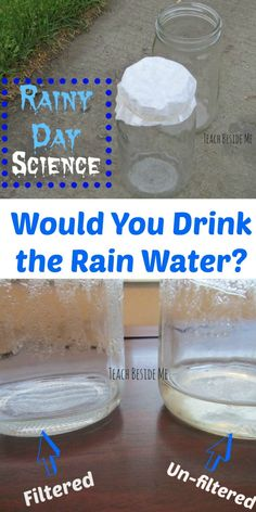 With all of the Spring rain we have been having this week, I was inspired to do some rainy day science with my kids. We wanted to know whether we could make the rain drinkable by Science Activities For Kids, Rainy Day Activities, Stem Science, Science Fair Projects, Preschool Science, Science Resources, Teaching Science, Learning Activities, Preschool Activities
