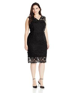 86f53c8003 Adrianna Papell Womens Plus-Size Illusion Hem Sheath Dress with Strapping Plus  Size Spring Dresses