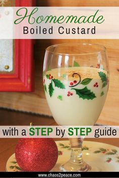 The recipe for old-fashioned, homemade boiled custard really is easy. This southern dessert drink will be the perfect addition to your holiday. There's even a step by step video guide of my 90 year old grandmother showing you how to make it. Homemade Christmas Gifts, Christmas Goodies, Christmas Treats, Homemade Gifts, Christmas Parties, Christmas Drinks, Cozy Christmas, Christmas Fashion, Christmas Stuff