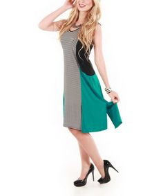 Look what I found on #zulily! Black & Teal Stripe Color Block Dress by Aster #zulilyfinds