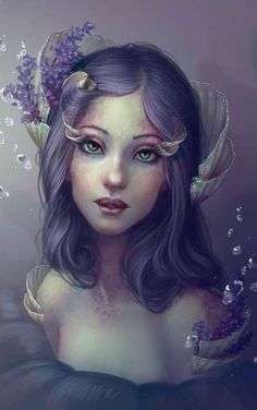 Artwork: lavender and shells by fantasy artist Jennifer Healy. See more artwork by this featured artist on the fantasy gallery website. Digital Portrait, Digital Art, Digital Paintings, Girl Paintings, Art Steampunk, Art Beat, Drawn Art, Mystique, Shell Art
