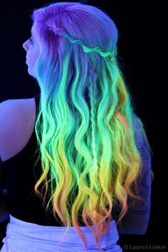 gorgeous blacklight photo taken by Lauren limon of my new Kenra neon hair contest entry! not quite glow in the dark but very UV reactive hair. rainbow ombre neon hair <3