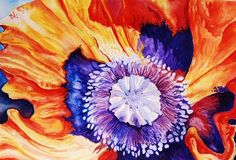 "Orange Poppy - Original Watercolor-11"" X 15"" $250"