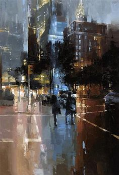 """Daily Paintworks - """"Evening in NYC """" - Original Fine Art for Sale - © Victor Bauer"""