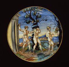 Musée d'Ecouen - Assiette: Adam et Eve chassés du Paradis terrestre. ECL2314; JG909. RIMINI (origine) 1535. Faïence, majolique.