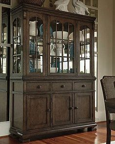 Grayish Brown beautifully detailed formal dining room buffet and china hutch with built in lighting Dining Room Server, Dining Room Sideboard, Dining Room Storage, Dining Room Design, Dining Area, Room Store, High Walls, Wall Mounted Shelves, Smart Design