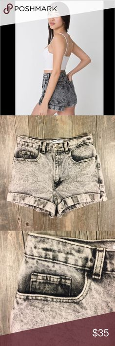 American Apparel black acid wash high waist shorts American Apparel black acid wash high waist shorts. Hips are approx 36 inches. Cotton. 11.5 inches long. 2 inch inseam. Distressed cuff hem. Tag reads size 27 American Apparel Shorts Jean Shorts