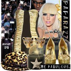 """Gold Gaga"" by karineminzonwilson on Polyvore"