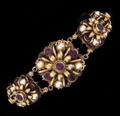 Antique Austro-Hungarian Amethyst Pearls Bracelet