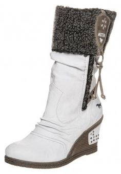 Mustang - High Heel Stiefel - off white