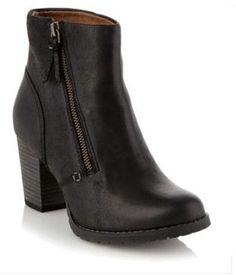 Macay holly black leather mid ankle boots