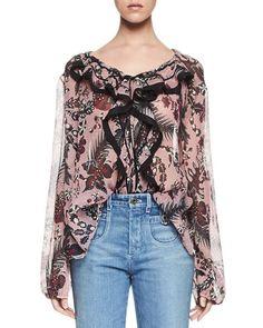 CHLOÉ Ruffled Cactus-Print Silk Blouse, Pink/Burgundy. #chloé #cloth #
