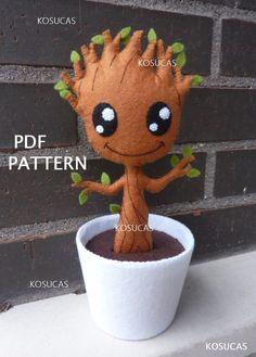PDF pattern to make a felt plant. PDF sewing pattern to make a felt baby Groot 8 inches tall cm). It is not a finished doll. Felt Patterns, Craft Patterns, Sewing Patterns, Baby Patterns, Sewing Toys, Sewing Crafts, Sewing Projects, Sewing Ideas, Sewing Tutorials