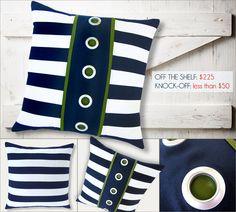 Designer Pillow Knock-Off: Nautical Stripes & Grommets | Sew4Home