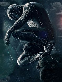 """A fantastic poster from the Marvel Comics movie Spider-man Peter Parker as the symbiote Venom! Check out the rest of our amazing selection of Spider-Man posters - the best on the """"web""""! Need Poster Mounts. Black Spiderman, Spiderman Noir, Amazing Spiderman, Spiderman Sam Raimi, Spiderman Tattoo, Spiderman Costume, Spiderman Marvel, Superman Comic, Film Venom"""