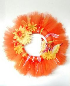 Check out this item in my Etsy shop https://www.etsy.com/listing/289393415/summer-tulle-wreath-summer-wreath-orange