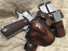 custom concealed carry holsters from Jeffrey Custom Leather 1911 Leather Holster, 1911 Holster, Custom Leather Holsters, Pistol Holster, 1911 Pistol, Knife Holster, Concealed Carry Holsters, Concealment Holsters, Western Holsters