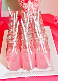 Love this idea for serving drinks at a party.  I have to remember to save some frap bottles for this.