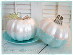 Primp Your Pumpkin {pumpkin themed link party} - Fox Hollow Cottage Pink Pumpkins, Painted Pumpkins, Fall Pumpkins, Halloween Pumpkins, Halloween Crafts, Halloween Decorations, Glitter Pumpkins, Fabric Pumpkins, Balloon Decorations