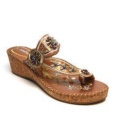 Look at this #zulilyfind! Brown & Cork Floral Bead Embroidered Sandal #zulilyfinds