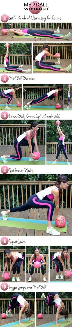 10's Med Ball Workout (do 10 reps of each exercise and go through the entire sequence three times)