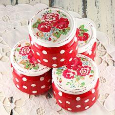 Polka dots -  roses - red -  decoupaged  - shabby - romantic - glass  - jars - set of 4. $36,00, via Etsy.