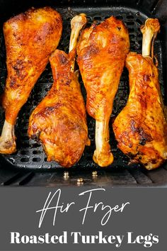 These Easy Air Fryer Turkey Legs are seasoned and roasted to perfection with crispy skin. Serve these for weeknight dinners or as main dish for the holidays and Thanksgiving! Best Bbq Recipes, Air Fry Recipes, Cooking Recipes, Roasted Turkey Legs, Baked Turkey Wings, Turkey Dishes, Turkey Recipes, Turkey Seasoning, Air Fryer Fish