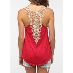 Sweet Scoop Neck Sleeveless Back Openwork Lace Backless Tank Top For Women