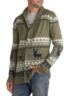 Take Caribou Cardigan in Buck - Green, Black, Grey, White, Buttons, Knitted, Casual, Long Sleeve, Winter, Holiday