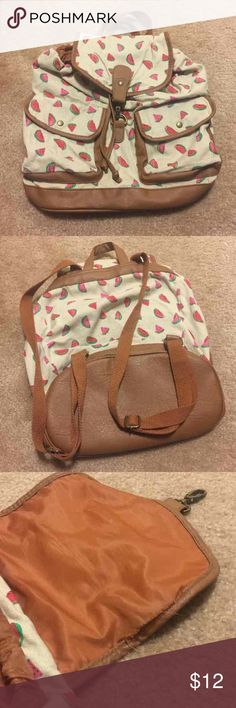 Backpack Watermelon print backpack-slight unstitching on the flap-please see photos. 🍉🍉🍉 Candie's Bags Backpacks