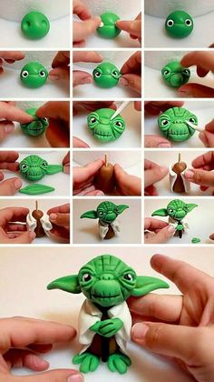 Yoda cake topper - modellieren - You are in the right place about Polymer Clay Crafts paper mache Here we offer you the most beautiful pictures about the Polymer Clay Bolo Star Wars, Star Wars Cake, Cake Topper Tutorial, Fondant Tutorial, Fondant Toppers, Fondant Cupcakes, Fondant Figures, Clay Projects, Clay Crafts