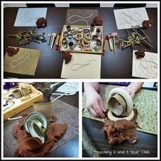 """Loose parts & play dough from Teaching 2 and 3 Year Olds ("""",)"""