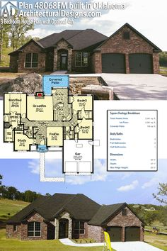 Architectural Designs House Plan client-built in Oklahoma. Ranch House Plans, Bedroom House Plans, New House Plans, Dream House Plans, House Floor Plans, Architectural Design House Plans, Architecture Design, The Plan, How To Plan