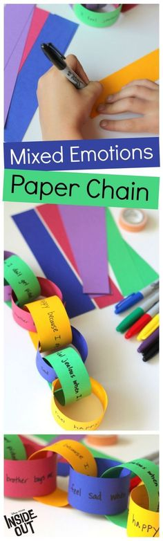 Inspired by the Disney Pixar movie Inside Out, kids can write about their mood on different colored strips of paper to create a paper chain. A strong visual reminder that we all experience a colorful variety of emotions.