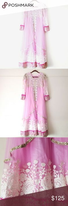 Pink Floral Salwar Kameez Eid Party Indian Gown This has been worn!  Size: 38 inch bust Dresses Long Sleeve