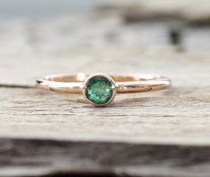 Handmade Emerald Solitaire Ring in 14 Karat Solid