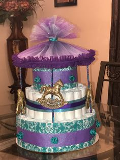 Carousel Diaper Cake by Bee