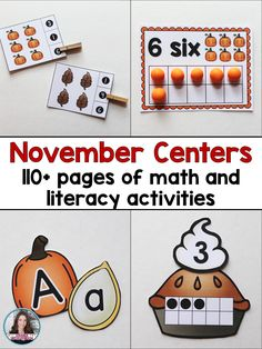 Save 50% when purchasing these Fall themed centers in the bundle! Students will love practicing their math and literacy skills during the month of November! Games have acorn, pumpkin, and leaf themes! This bundle of centers will make it easy for you to plan and prep a set of math and literacy centers to use during November. This bundle includes eight different centers - 4 math and four literacy.