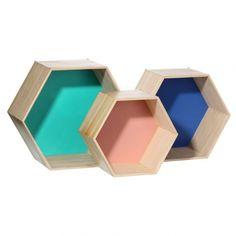 Pack de estanterías hexagonales colores