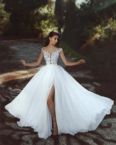 Chic White Wedding Dress Chiffon Lace Cheap Wedding Dress # Source by bckfranzis Related posts:Dressylady Charming Lace Appliques Backless Wedding Dress for Bride with Beaded . Split Prom Dresses, Wedding Dresses 2018, White Wedding Dresses, Cheap Wedding Dress, Bridal Dresses, Beach Dresses, Illusion Wedding Dresses, Wedding Dresses For Kids, Garden Wedding Dresses