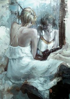 """The Mirror in White"" - Jeremy Mann (b. 1979), oil on panel {figurative #impressionist art female seated woman reflection cropped painting #loveart} redrabbit7.com"