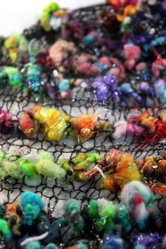 RESERVEDBonnaRainbow Knit Scarf with Handspun Art by Jazzturtle